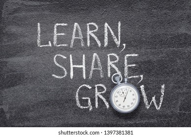 learn, share, grow words written on chalkboard with vintage precise stopwatch