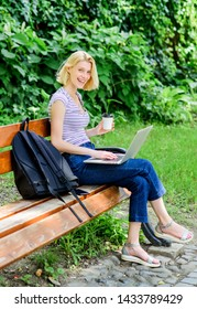 Learn study explore. Surfing internet. Modern student life. Regular student. Girl adorable student with laptop and coffee cup sit bench in park. Study outdoors. Woman student work with notebook.