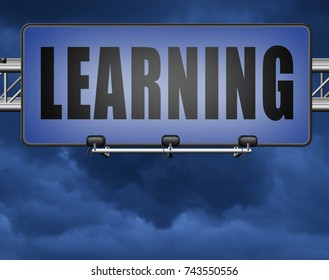 learn and study and find info or information sign. Online education and learning.  3D, illustration