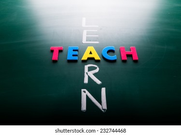 Learn and teach concept, words on blackboard