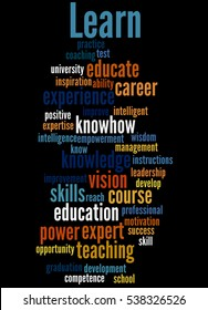 Learn, word cloud concept on black background.