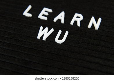 learn WU Chinese language sign on black background