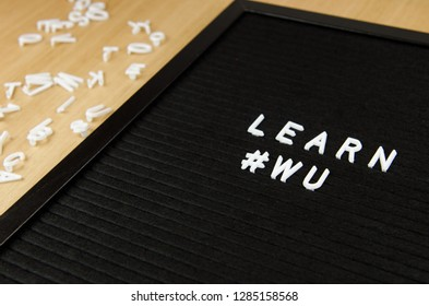 learn WU Chinese language sign on black background with hashtag