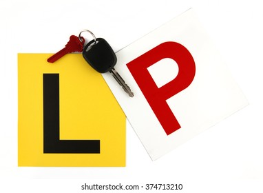 Learner & Probationary Plates with Car Keys on White Background