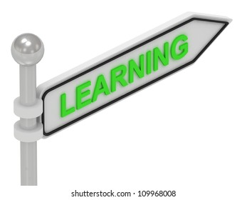 LEARNING arrow sign with letters on isolated white background