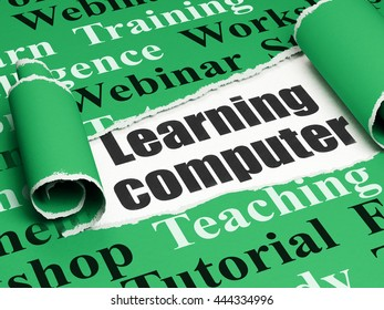 Learning concept: black text Learning Computer under the curled piece of Green torn paper with  Tag Cloud, 3D rendering