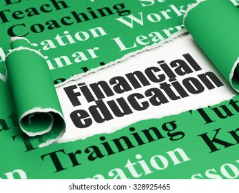 Learning concept: black text Financial Education under the curled piece of Green torn paper with  Tag Cloud