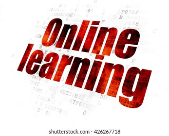Learning concept: Pixelated red text Online Learning on Digital background