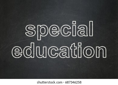Learning concept: text Special Education on Black chalkboard background