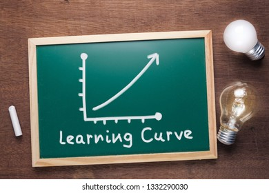 Learning Curve text and graph on chalkboard with glowing light bulbs, potential of learning concept