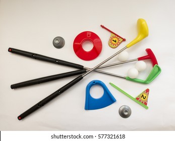 Learning the game of Golf, with colored toy Golf set