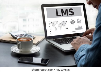 Learning Management System (LMS)  Thoughtful male person looking to the digital tablet screen, laptop screen,Silhouette and filter sun