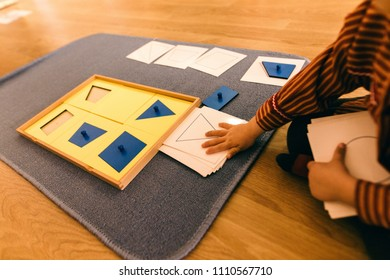 Learning materials in a montessori methodology school being manipulated by children