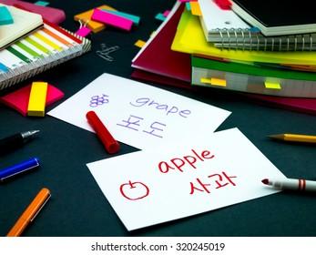 Learning New Language Making Original Flash Cards Korean