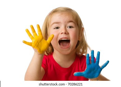 Learning and play themed image of a little girl with hands painted.