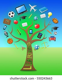 Learning Tree With Icons Shows Student Education 3d Illustration