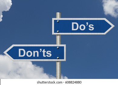 Learning to use proper grammar, Blue road sign with words Do's Don'ts with sky background 3D Illustration