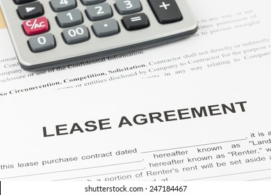 Lease agreement document with calculator