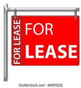 For Lease Sign in red color