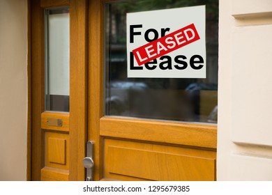 Leased Banner On Closed Glass Office Door