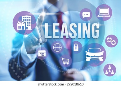 Leasing concept illustration with multiple icons