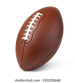 Leather American football ball isolated on white background