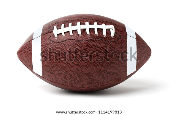 Leather American football ball on white background