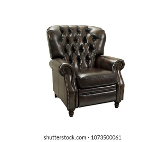The leather armchair in white background.
