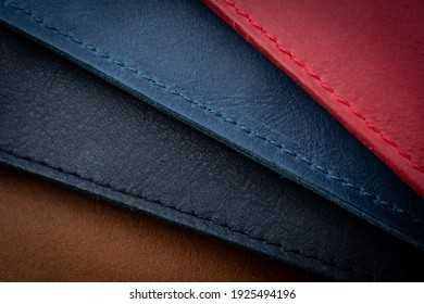 Leather background with seams. Four color.