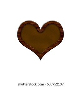 Leather badge with wooden border in form of heart.Isolated on white background.
