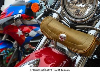 Leather bag on Indian Bike logo on bike at Crazy Hohols MFC Bikers Club Open season Kiev Ukraine 22 april 2017