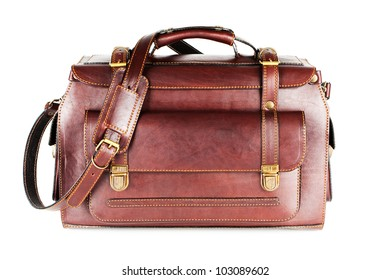 Leather Bag with shoulder strap for business travel (isolated on white background)