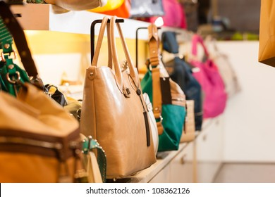 Leather bags in a shop waiting for customers