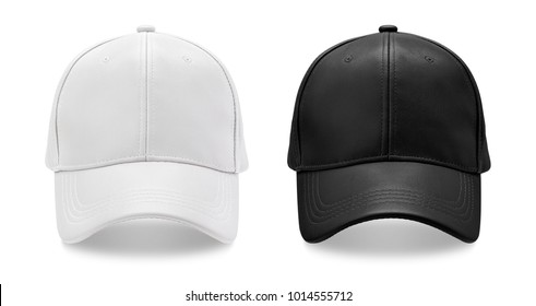 Leather baseball cap isolated on white background.