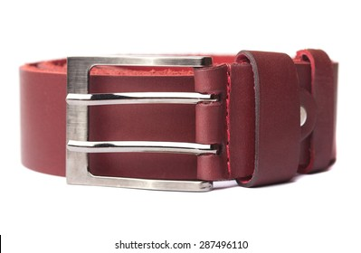 Leather belt Burgundy