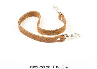 leather belt with carbine isolated on white