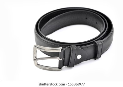 Leather belt closeup on white background