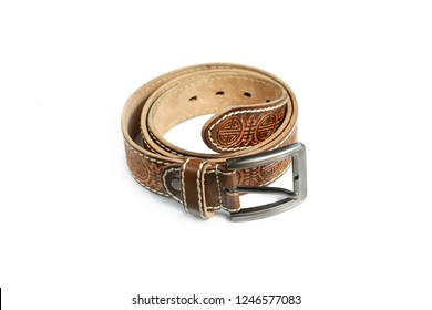 leather belt with embossed on a white background
