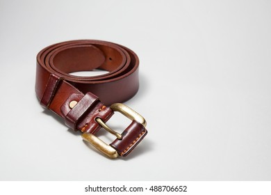 leather belt with isolated on white