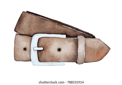 Leather belt with metal buckle for men trousers. Single object, brown color, classical everyday style. Iconic symbol of style. Hand drawn watercolor illustration, isolated on white background.