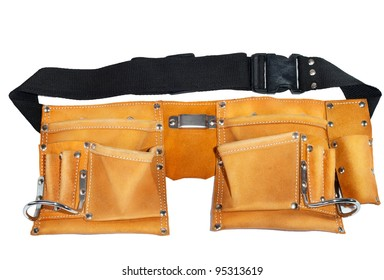 Leather belt for tools on a white background