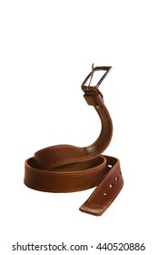 Leather belt for trousers in pose cobra on white background