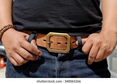 Leather belt in vintage fashion.