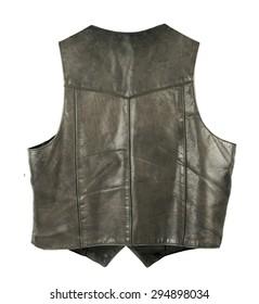Leather biker jacket vest from back side