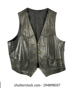 Leather biker jacket vest open