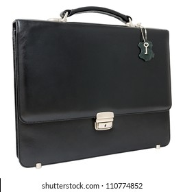a leather black briefcase, isolated over white