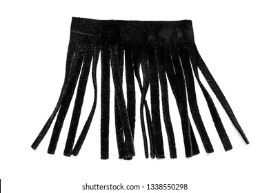 Leather black fringe on a white background.