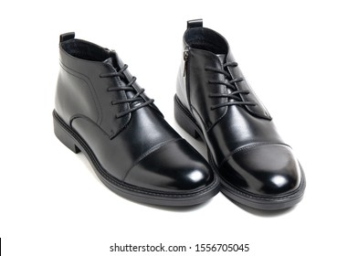 leather black men's shoes on a white background