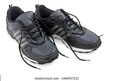 leather black  sports  shoes on white background