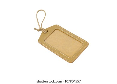 Leather Blank Tag Isolated On White Background